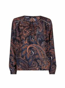 Womens **Only Black Paisley Printed Blouse- Black, Black