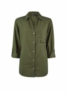 Womens Khaki Lyocell Shirt - Green, Green