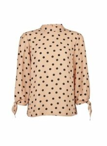 Womens Camel Spotted Tie Sleeve Top- Beige, Beige