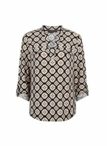 Womens Cream Geometric Interlock Twist Yarn Jersey Shirt- Multi Colour, Multi Colour