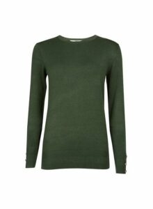 Womens **Tall Khaki Button Cuff Jumper, Khaki
