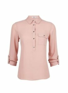 Womens Petite Blush Roll Sleeve Shirt- Pink, Pink