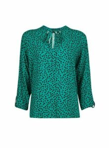 Womens Green Spot Print Tie Neck Blouse- Green, Green