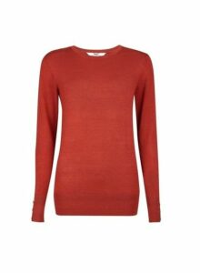 Womens **Tall Red Button Cuff Jumper, Red