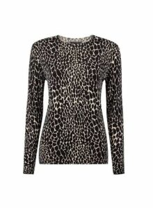 Womens Black Crocodile Print Fine Knitted Jumper- Black, Black