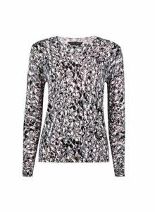 Womens Monochrome Camouflage Print Fine Knit Jumper- Black, Black