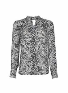 Womens Black Giraffe Print Long Sleeve Top- Black, Black