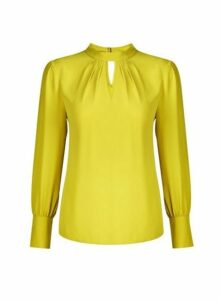 Womens Lime Honey Long Sleeve Top- Green, Green