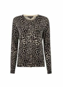 Womens Black Crocodile Print Gold Button Cardigan- Animal, Animal