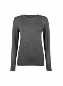 Womens Grey Button Cuff Crew Neck Jumper- Grey, Grey