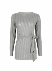 Womens Grey Brushed Belted Tunic Top, Grey