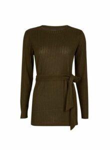 Womens Khaki Brushed Belted Tunic Top- Khaki, Khaki