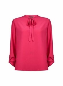 Womens Pink Tie Neck Shirt, Pink