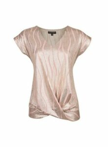 Womens Pink And Gold Twist Hem T-Shirt, Pink