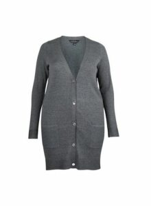 Womens **Dp Curve Grey Button Cotton Mix Cardigan- Grey, Grey