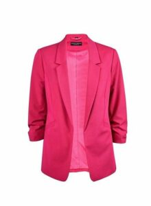 Womens Pink Ruched Sleeve Blazer, Pink