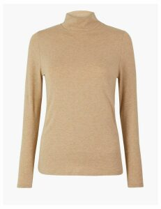 M&S Collection Cotton Rich Fitted Long Sleeve Top