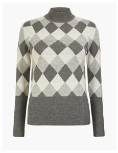 M&S Collection Diamond Argyle Fitted Jumper