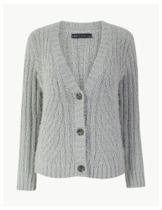 M&S Collection Chenille Cable Knit V-Neck Cardigan