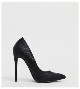 Lost Ink wide fit Amily heeled pointed court shoe in black