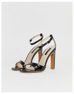 Lost Ink square toe heeled sandals in black
