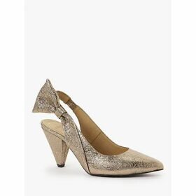 AND/OR Amili Leather Slingback Court Shoes, Metallic Gold