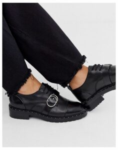Bronx leather flat shoes in black