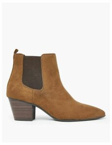 M&S Collection Wide Block Heel Pointed Toe Chelsea Boots