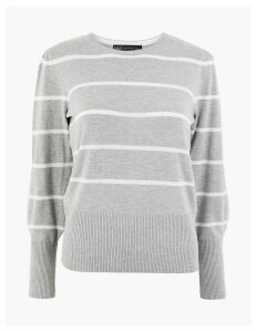 M&S Collection Striped Gathered Shoulder Jumper