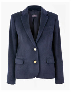 M&S Collection Wool Blend Single Breasted Straight Blazer