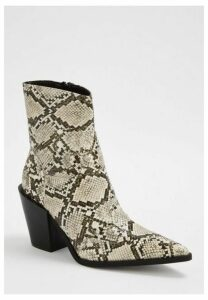 Nude Snake Print Western Boots, Nude