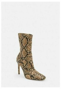 Nude Snake Print Square Toe Stiletto Heel Boots, Nude