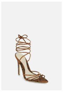 Brown Snake Print Faux Suede Minimal Strap Pointed Toe Heels, Brown