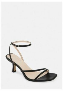 Black Strappy Low Heeled Sandals, Black