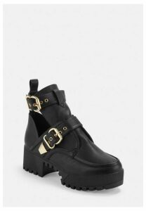 Black Double Buckle Cleated Sole Ankle Boot, Black