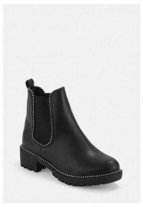 Black Ball Trim Chelsea Ankle Boots, Black
