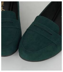 Dark Green Suedette Penny Loafers New Look
