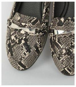 Black Faux Snake Twist Bar Loafers New Look