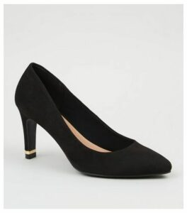 Black Suedette Pointed Metal Heel Courts New Look