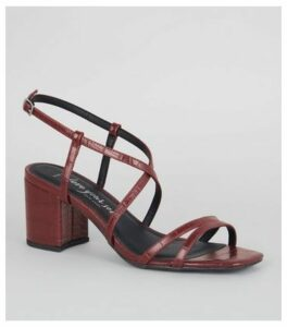 Wide Fit Burgundy Faux Croc Strappy Sandals New Look