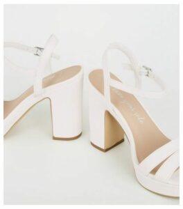 Wide Fit White Platform Block Heels New Look