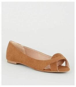 Wide Fit Tan Suedette Twist Peep Toe Pumps New Look Vegan