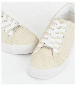Off White Faux Croc Lace Up Trainers New Look Vegan