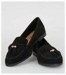 Black Suede Tassel Trim Loafers New Look