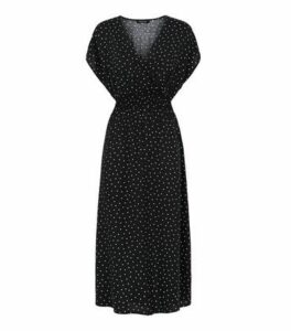 Black Spot Shirred Waist Wrap Midi Dress New Look