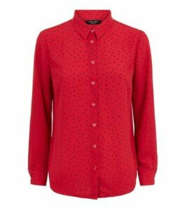 Petite Red Spot Long Sleeve Shirt New Look