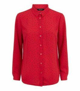 Petite Red Spot Long Sleeve Shirt New Look