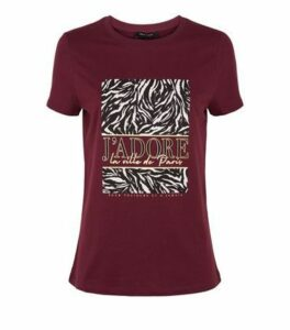 Burgundy Animal J'Adore Slogan T-Shirt New Look