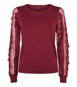 Burgundy Lace Sheer Sleeve Jumper New Look