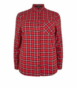 Curves Red Check Long Sleeve Shirt New Look